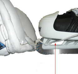 how to fit a hockey goalie leg pad to skates
